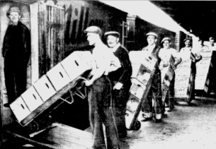 Loading the Trains Before Midnight at Miller (Milwaukee Journal April 6, 1933)