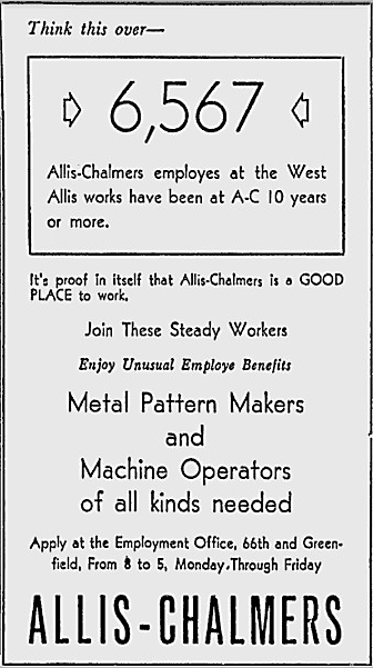 Work Ad for AC(Milwaukee Journal, April 23, 1952_