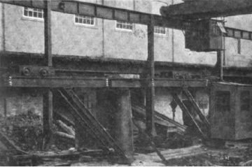 Crane used to moved material in and out of foundry.