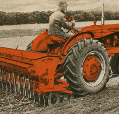 Allis-Chalmers WD-45 and Snap-Coupler All-Crop grain drill.