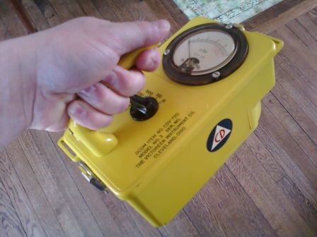 CD Geiger counter found down in the shelter. Still works!
