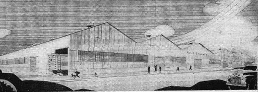 Artists sketch shows the new Columbus Plant which will be built at Pittsburgh Works.