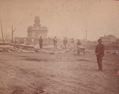 Courthouse in the aftermath of the fire on April 28, 1875. Cour
