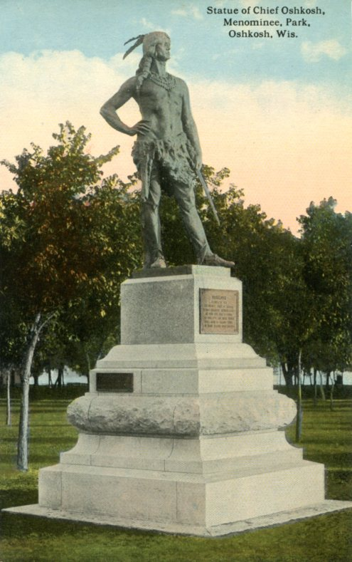 Chief Oshkosh Statue in Menominee Park