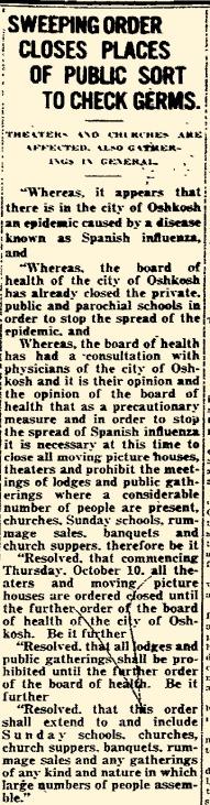 """""""Oshkosh Daily Northwestern"""" October 9, 1918"""