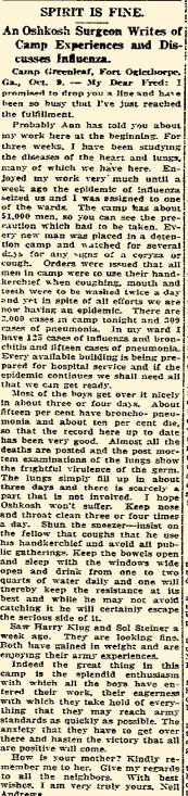 """""""Oshkosh Daily Northwestern"""" October 12, 1918"""