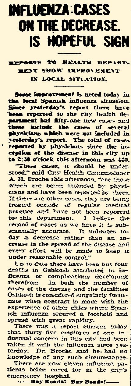 """""""Oshkosh Daily Northwestern"""" October 16, 1918"""