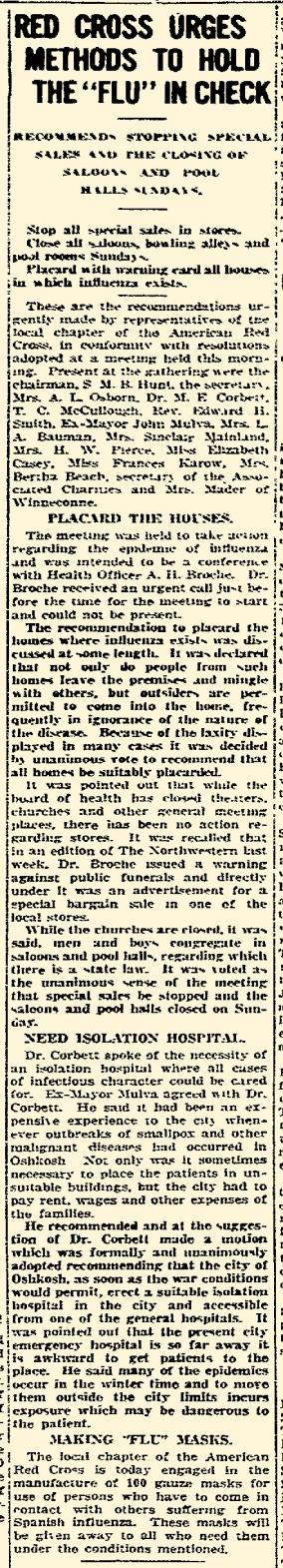 """""""Oshkosh Daily Northwestern"""" October 22, 1918"""
