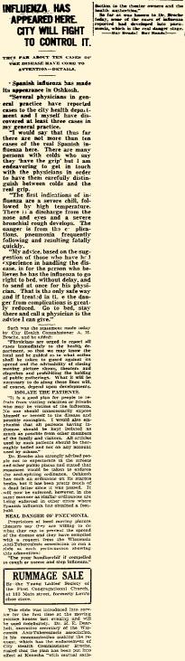 """""""Oshkosh Daily Northwestern"""" October 5, 1918"""